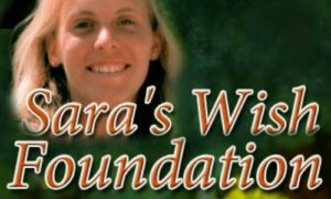 Logo of Sara's Wish Foundation, which includes the name of the organization and a photo of Sara Schewe smiling