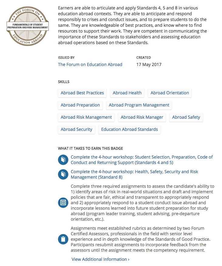 Digital Badge of Student Preparation and Risk Management Competency