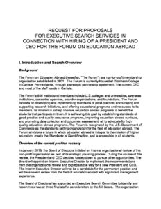 Executive Search Firm RFP | The Forum on Education Abroad