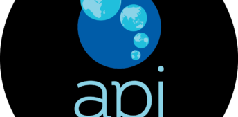 API logo - black circle with earth images above the organization name