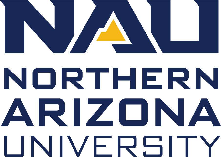 Northern Arizona University logo features NAU in dark blue block letters. The triangle in the center of the A is a stylized gold mountain. Beneath this, the full name, Northern Arizona University is written in thinner type, all capital letters, with each word stacked on top of the next.