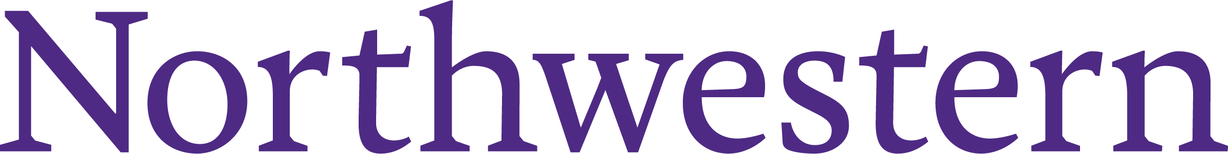 Northwestern wordmark. The word Northwestern is printed in serif font in the school's purple color.