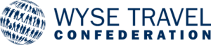 The World Youth, Student, and Education Travel Confederation logo features an image of a globe formed by pictures of people who appear to be walking alone and in groups in rows around the world. Beside the globe, WYSE TRAVEL appears in large block letters with Confederation in smaller block letters beneath it. The whole logo is dark blue.