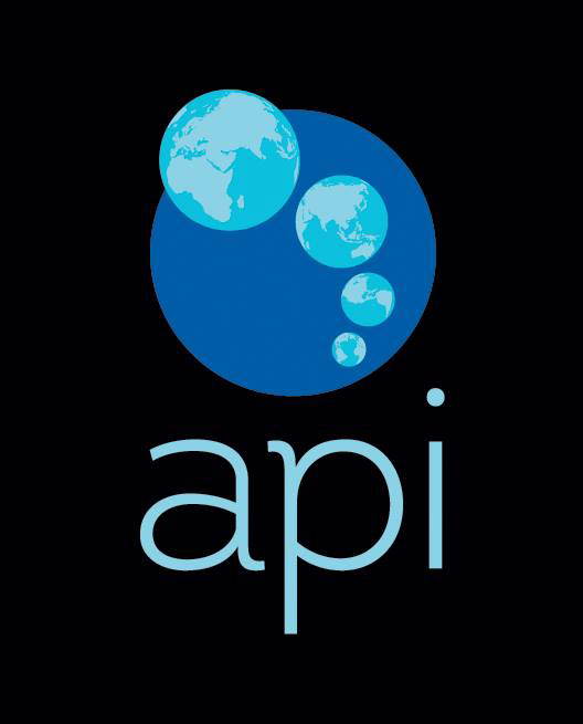 "The Academic Programs International logo features lower ""api"" in light blue on a black background. Above it, a dark blue circle has four smaller circular world maps arching across the middle of it. Moving from bottom to top each globe gets larger and shows a different perspective of the world."