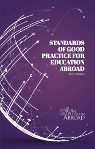 Images shows the cover of the Standards of Good Practice for Education abroad booklet, which features pale silver text on a purple background, with a futuristic graphic of a globe.