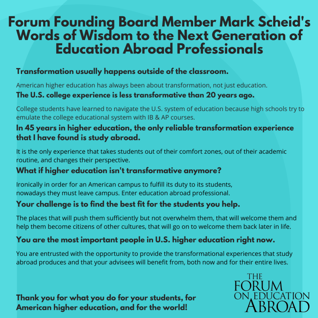 Mark Scheid's words of wisdom for the next generation of education abroad professionals