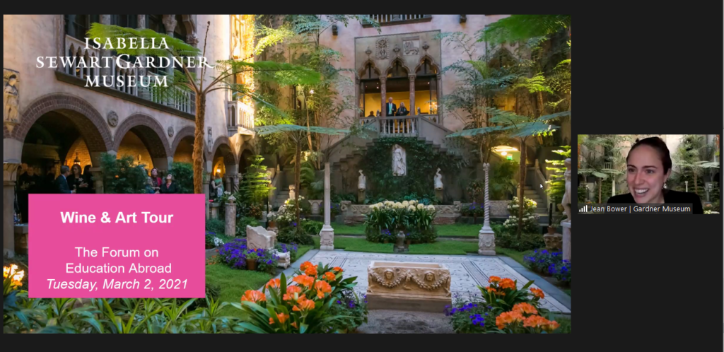 Screenshot from the Isabella Steward Gardner Museum's Wine & Art Tour during The Forum's 17th Annual Conference