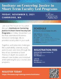 Informational flyer on the Institute on Centering Justice in Short-Term Faculty-Led Programs